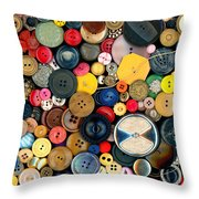 Sewing - Buttons - Bunch Of Buttons Throw Pillow