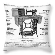 Sewing Machine Ad, 1895 Throw Pillow