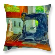 Sewing Machine In Harness Room Throw Pillow