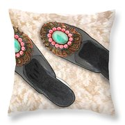 Sexy Slippers On Shag Throw Pillow