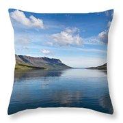 Seydisfjordur Fjord Throw Pillow