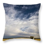 Shack In Field Throw Pillow