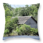 Shack On The River Throw Pillow
