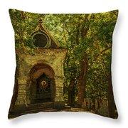 Shaded Chapel. Golden Green Series Throw Pillow