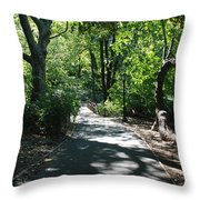 Shaded Paths In Central Park Throw Pillow