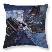 Shades Of Denim Throw Pillow