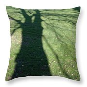 Shadow Of A Tree On Green Grass Throw Pillow