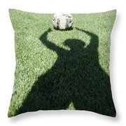 Shadow Playing Football Throw Pillow