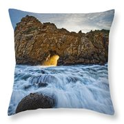 Shaft Of Sunlight Through Hole In Rock Throw Pillow by Robert Postma
