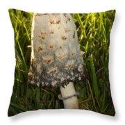 Shaggy Mane Mushroom Growing Throw Pillow