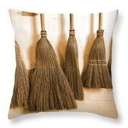 Shaker Brooms On A Wall Throw Pillow