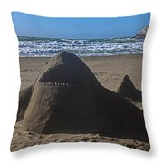 Shark Sand Sculpture Throw Pillow