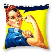 Sharon Rosie The Riviter Throw Pillow