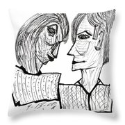 She And He Pen And Ink 2000 Throw Pillow