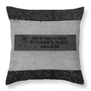 Shea Stadium Pitchers Mound In Black And White Throw Pillow