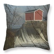 Shed By The Dam In Fog Throw Pillow