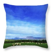 Sheep Grazing In Field County Wicklow Throw Pillow