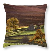 Sheep On A Hill, North Yorkshire Throw Pillow