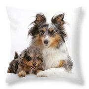 Sheepdog With Puppy Throw Pillow