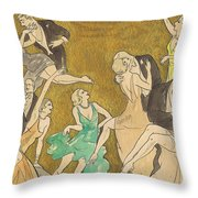 Sheet Music Gold Throw Pillow