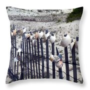 Shell-decorated Fence Throw Pillow