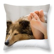 Sheltie Sleeping With Her Owner Throw Pillow