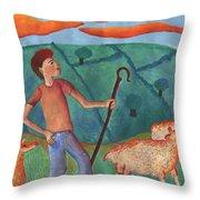 Shepherd Boy Detail Of Red Sky At Night Throw Pillow