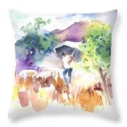 Shepherd In Saint Bertrand De Comminges Throw Pillow