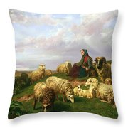 Shepherdess Resting With Her Flock Throw Pillow