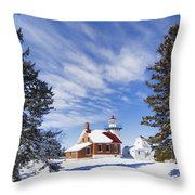 Sherwood Point Lighthouse And New Snow -  - D001650 Throw Pillow