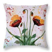Shining Red Poppies Watercolor Painting Throw Pillow