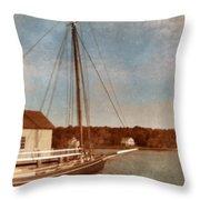 Ship At Dock Throw Pillow