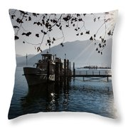 Ship In Backlight Throw Pillow