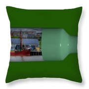 Ship On A Bottle With Green Throw Pillow