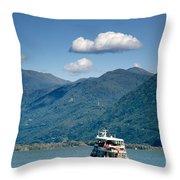 Ship On A Lake Throw Pillow