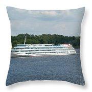 Ship On Volga Throw Pillow