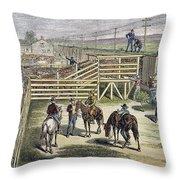 Shipping Cattle, 1877 Throw Pillow