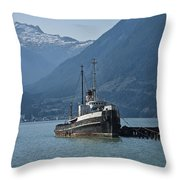 Shipping Freighter In Squamish British Columbia No.0187 Throw Pillow