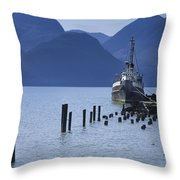 Shipping Freighter In Squamish British Columbia No.0201 Throw Pillow