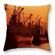 Shipping Freighters At Sunset Throw Pillow