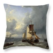 Shipping Off A Jetty Throw Pillow
