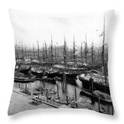 Ships In Harbour 1900 Throw Pillow