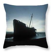 Shipwreck At Baltray Beach, Co Louth Throw Pillow