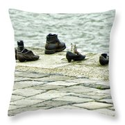 Shoes On The Danube Bank - Budapest Throw Pillow