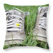 Shoes On The Green Grass Throw Pillow