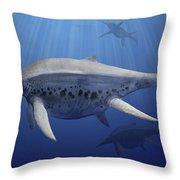 Shonisaurus Popularis Swimming Throw Pillow
