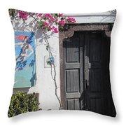Shop On The Corner Santorini Throw Pillow