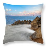 Shoreline View Morris Island  Throw Pillow by Jenny Ellen Photography
