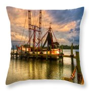 Shrimp Boat At Sunset Throw Pillow by Debra and Dave Vanderlaan