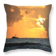 Shrimp Boat Sunrise Throw Pillow